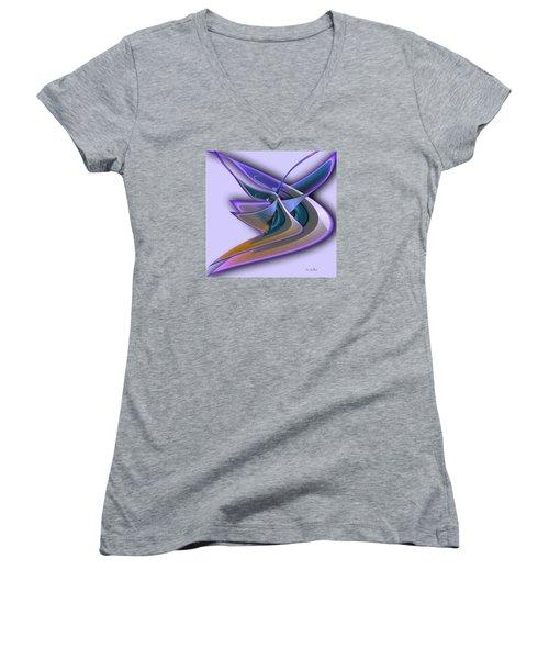 Deep Glow Women's V-Neck T-Shirt (Junior Cut) by Iris Gelbart