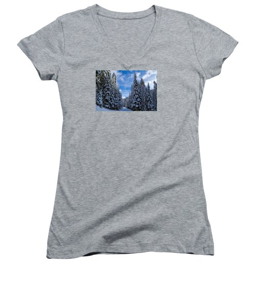 Deep In The Snowy Forest Women's V-Neck T-Shirt