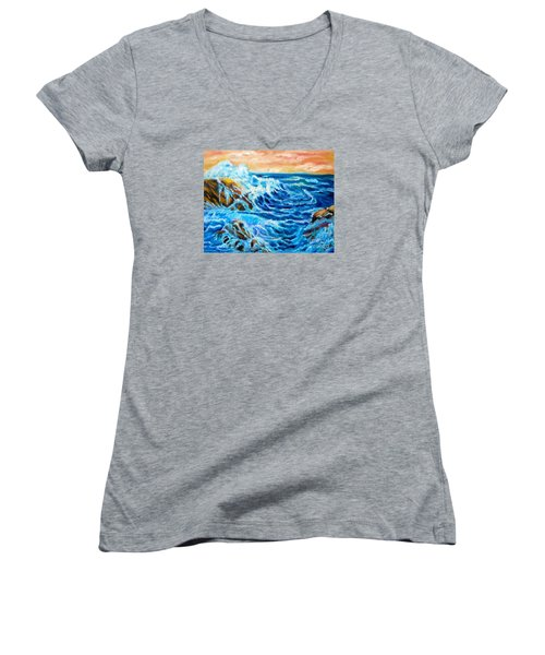 Women's V-Neck T-Shirt (Junior Cut) featuring the painting Deep by Jenny Lee