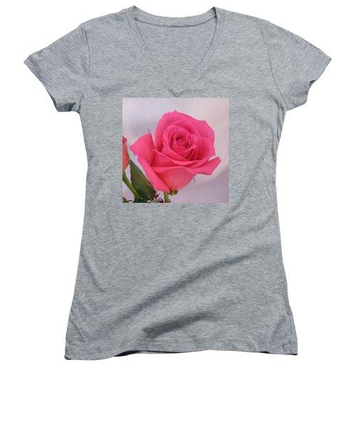 Deep Pink Rose Women's V-Neck T-Shirt (Junior Cut) by Karen J Shine