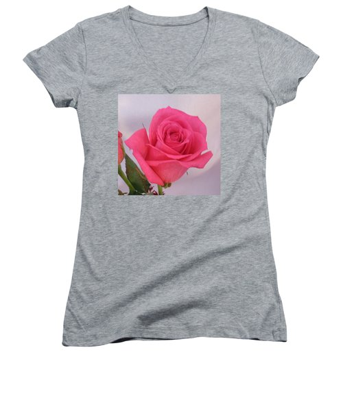 Single Deep Pink Rose Women's V-Neck