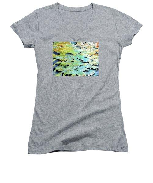 Women's V-Neck T-Shirt (Junior Cut) featuring the mixed media Deep by Tony Rubino