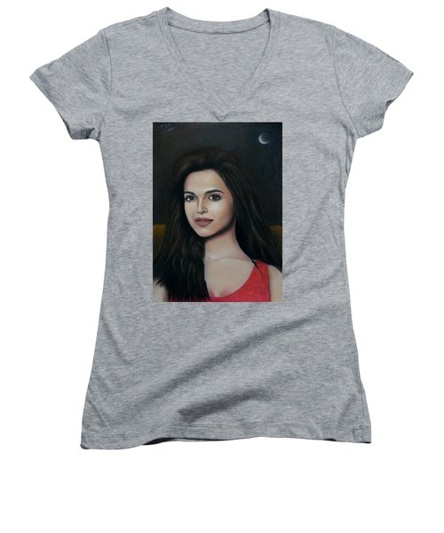 Deepika Padukone - The Enigmatic Expression Women's V-Neck T-Shirt (Junior Cut) by Vishvesh Tadsare