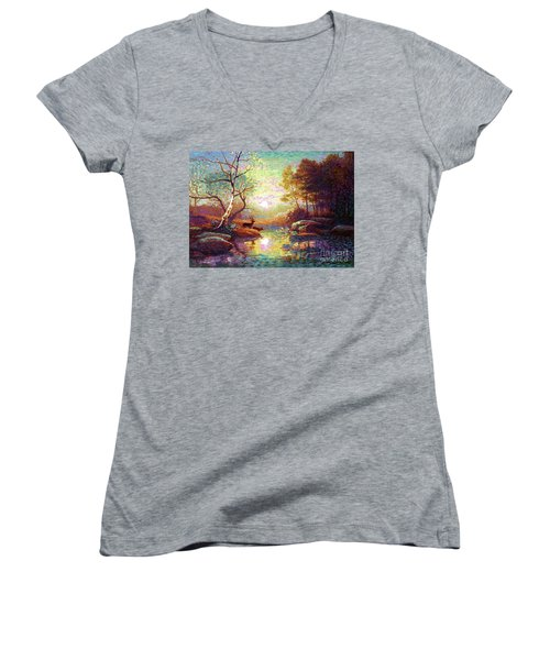 Deer And Dancing Shadows Women's V-Neck T-Shirt (Junior Cut) by Jane Small