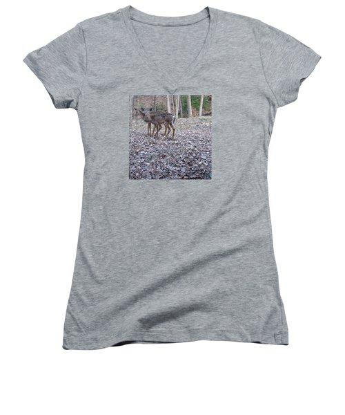 Deer Deer Me  -comp- Women's V-Neck T-Shirt (Junior Cut) by Cliff Spohn