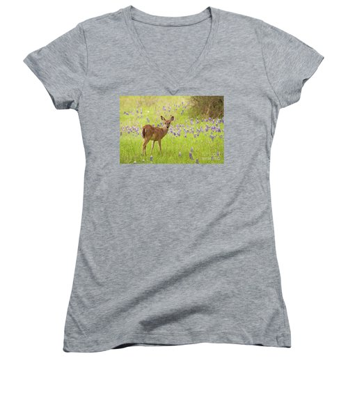 Deer In The Bluebonnets Women's V-Neck (Athletic Fit)