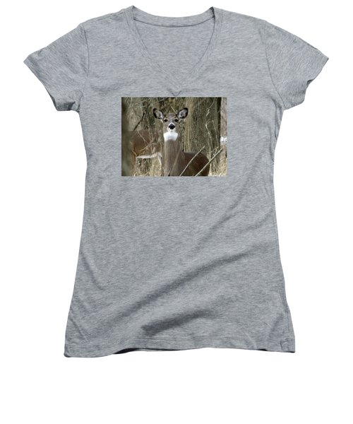 Deer In The Forest Women's V-Neck (Athletic Fit)