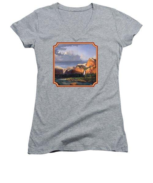 Deer Meadow Mountains Western Stream Deer Waterfall Landscape - Square Format Women's V-Neck T-Shirt (Junior Cut) by Walt Curlee