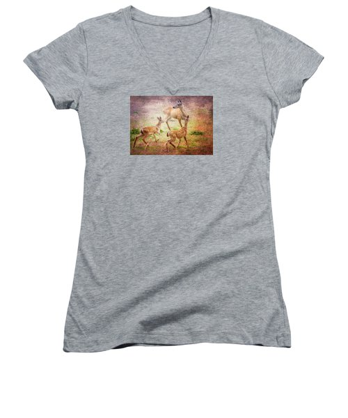 Deer On Vancouver Island Women's V-Neck (Athletic Fit)