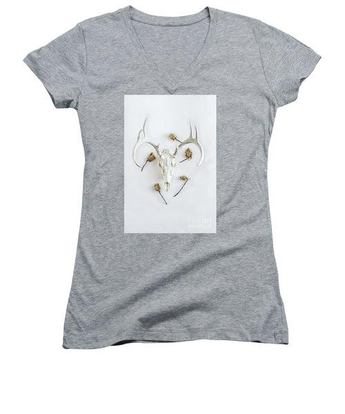 Women's V-Neck T-Shirt (Junior Cut) featuring the photograph Deer Skull With Antlers And Roses by Stephanie Frey