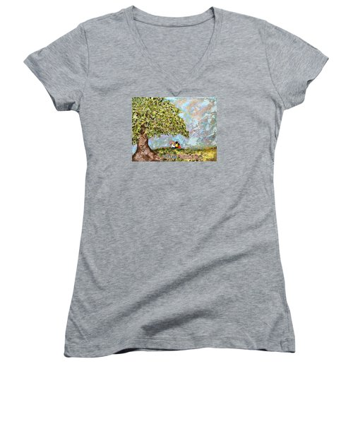 Defend The Fatherless Women's V-Neck T-Shirt (Junior Cut) by Kirsten Reed