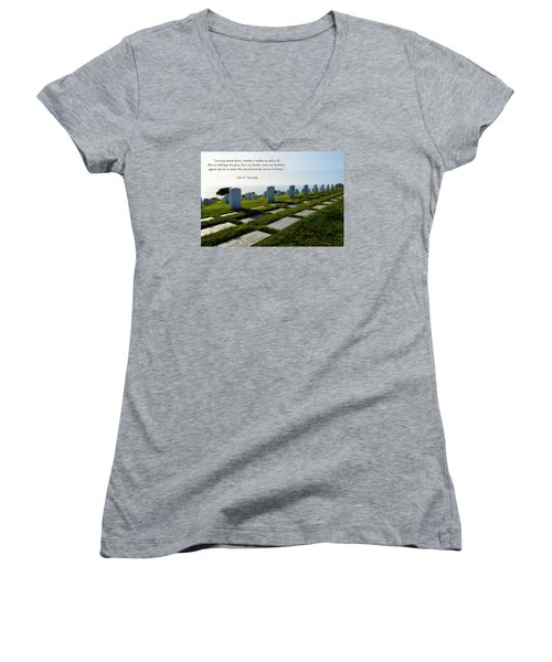 Women's V-Neck T-Shirt (Junior Cut) featuring the photograph Defending Liberty by Glenn McCarthy Art and Photography