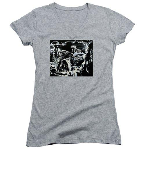 Deinos Sauros    Women's V-Neck T-Shirt (Junior Cut) by Ryan Demaree
