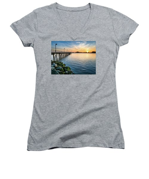 Del Norte Pier And Spring Sunset Women's V-Neck T-Shirt (Junior Cut) by Greg Nyquist