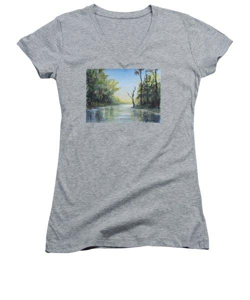 Women's V-Neck T-Shirt (Junior Cut) featuring the painting Delaware River  by Luczay