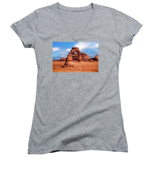 Delicate Arch From Lower Viewpoint Women's V-Neck