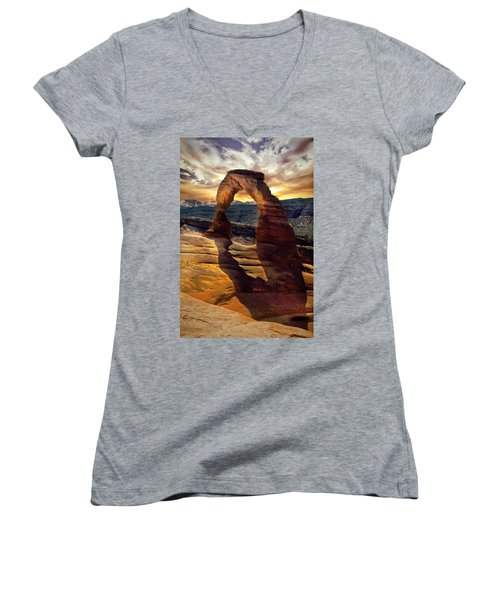 Women's V-Neck T-Shirt (Junior Cut) featuring the photograph Delicate Arch by James Bethanis