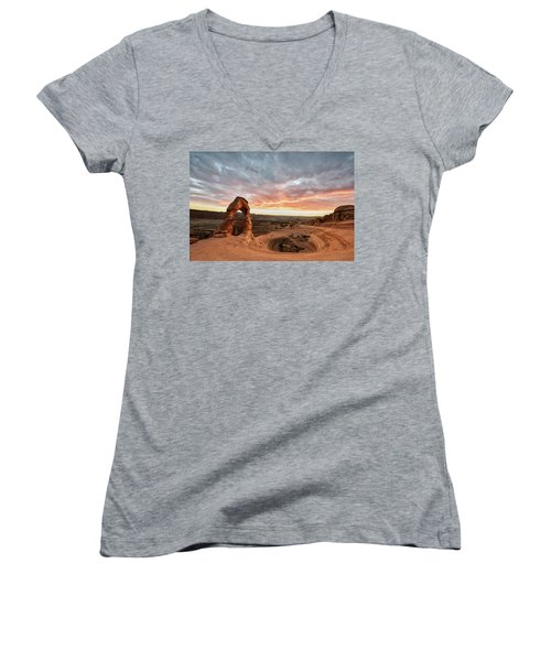Delicate At Sunset Women's V-Neck (Athletic Fit)