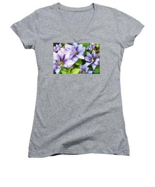 Delicate Climbing Clematis  Women's V-Neck T-Shirt (Junior Cut) by Judy Palkimas