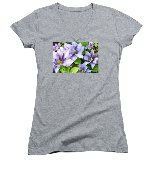 Delicate Climbing Clematis  Women's V-Neck (Athletic Fit)
