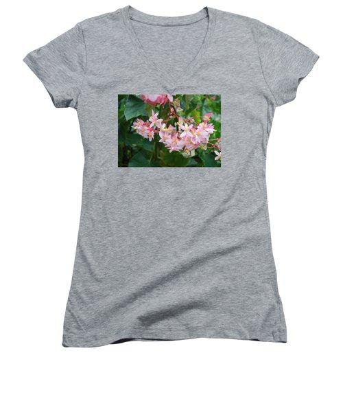 Women's V-Neck T-Shirt (Junior Cut) featuring the photograph Delicate Flowers by Karen Nicholson