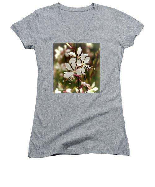 Delicate Gaura Flowers Women's V-Neck T-Shirt (Junior Cut) by Joann Copeland-Paul