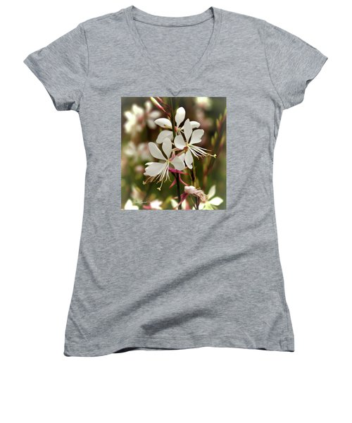 Delicate Gaura Flowers Women's V-Neck T-Shirt
