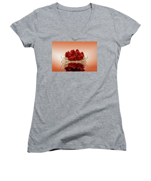Delicious Raspberries Women's V-Neck T-Shirt (Junior Cut) by David French