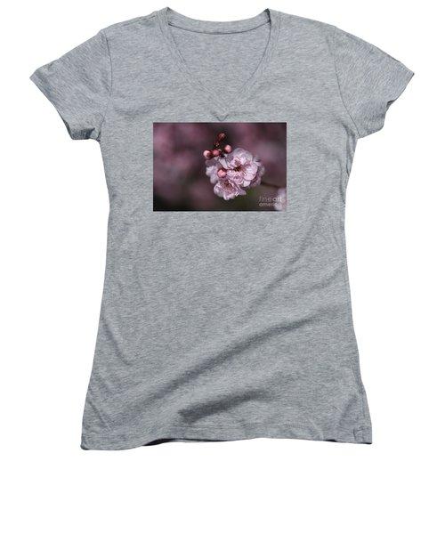 Delightful Pink Prunus Flowers Women's V-Neck