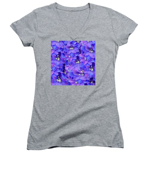 Delphinium Blue Women's V-Neck T-Shirt (Junior Cut) by Shirley Heyn