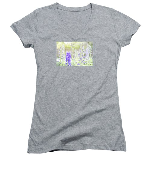 Delphiniums Women's V-Neck T-Shirt (Junior Cut) by Mary Angelini