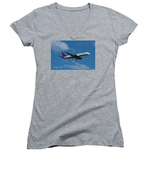 Delta Air Lines 757 Airplane N668dn Women's V-Neck T-Shirt (Junior Cut) by Reid Callaway