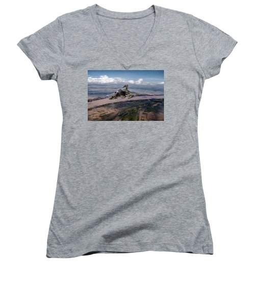 Women's V-Neck T-Shirt (Junior Cut) featuring the digital art Delta Deliverance by Peter Chilelli