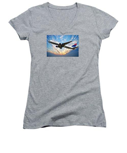 Delta Passenger Plane Women's V-Neck T-Shirt (Junior Cut) by Anthony Dezenzio