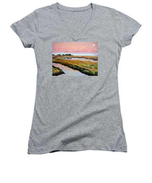 Women's V-Neck T-Shirt (Junior Cut) featuring the painting Delta Sunrise by Suzanne McKee