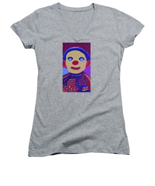 Women's V-Neck T-Shirt (Junior Cut) featuring the painting Demented Clownboy by Don Koester