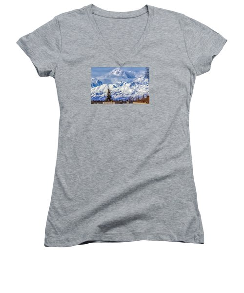 Women's V-Neck T-Shirt (Junior Cut) featuring the photograph Denali by Michael Rogers