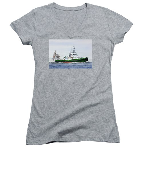 Women's V-Neck T-Shirt (Junior Cut) featuring the painting Denise Foss by James Williamson
