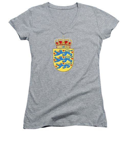 Women's V-Neck T-Shirt (Junior Cut) featuring the drawing Denmark Coat Of Arms by Movie Poster Prints