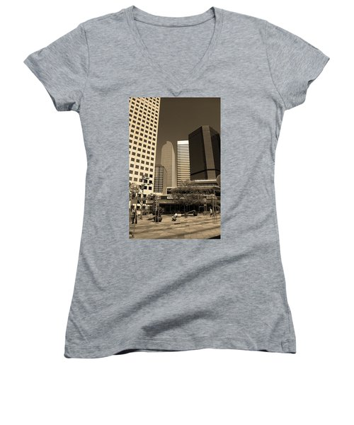 Women's V-Neck T-Shirt (Junior Cut) featuring the photograph Denver Architecture Sepia by Frank Romeo