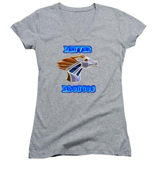 Women's V-Neck T-Shirt (Junior Cut) featuring the photograph Denver Broncos 2 by Shane Bechler