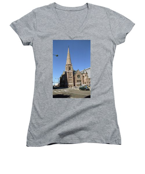 Women's V-Neck T-Shirt (Junior Cut) featuring the photograph Denver Downtown Church by Frank Romeo