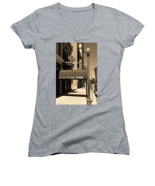 Women's V-Neck T-Shirt (Junior Cut) featuring the photograph Denver Downtown Storefront Sepia by Frank Romeo