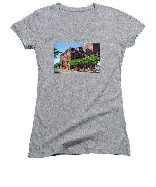 Women's V-Neck T-Shirt (Junior Cut) featuring the photograph Denver Downtown Warehouse by Frank Romeo