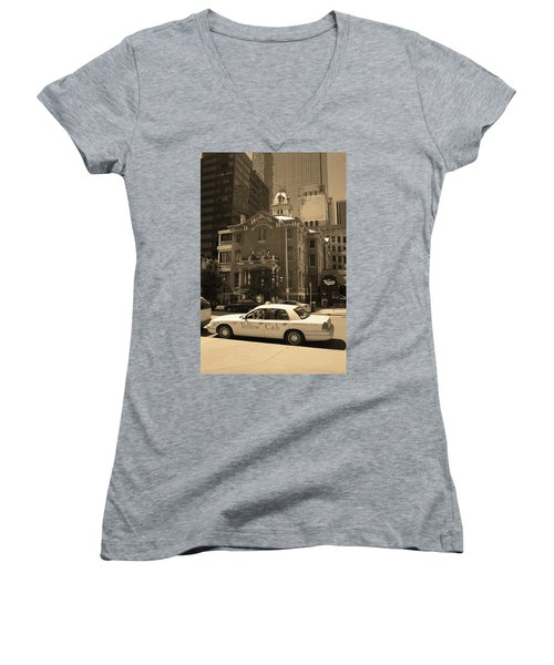 Women's V-Neck T-Shirt (Junior Cut) featuring the photograph Denver Downtown With Yellow Cab Sepia by Frank Romeo