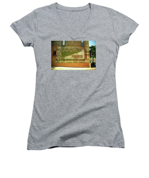 Women's V-Neck T-Shirt (Junior Cut) featuring the photograph Denver Ghost Mural by Frank Romeo