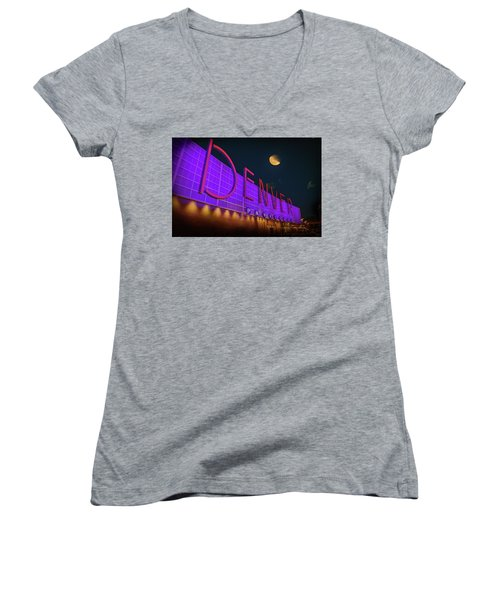 Denver Pavilion At Night Women's V-Neck (Athletic Fit)