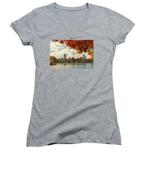 Denver Skyline Fall Foliage View Women's V-Neck