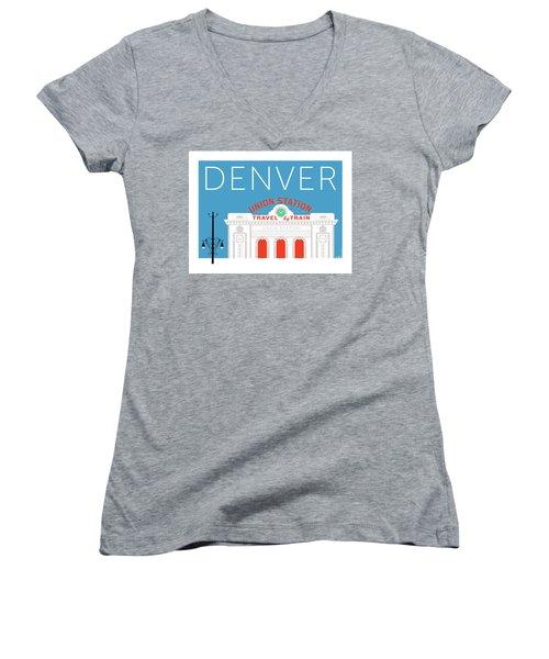 Denver Union Station/blue Women's V-Neck