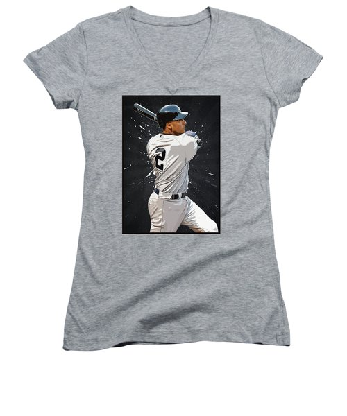 Derek Jeter Women's V-Neck T-Shirt (Junior Cut) by Semih Yurdabak